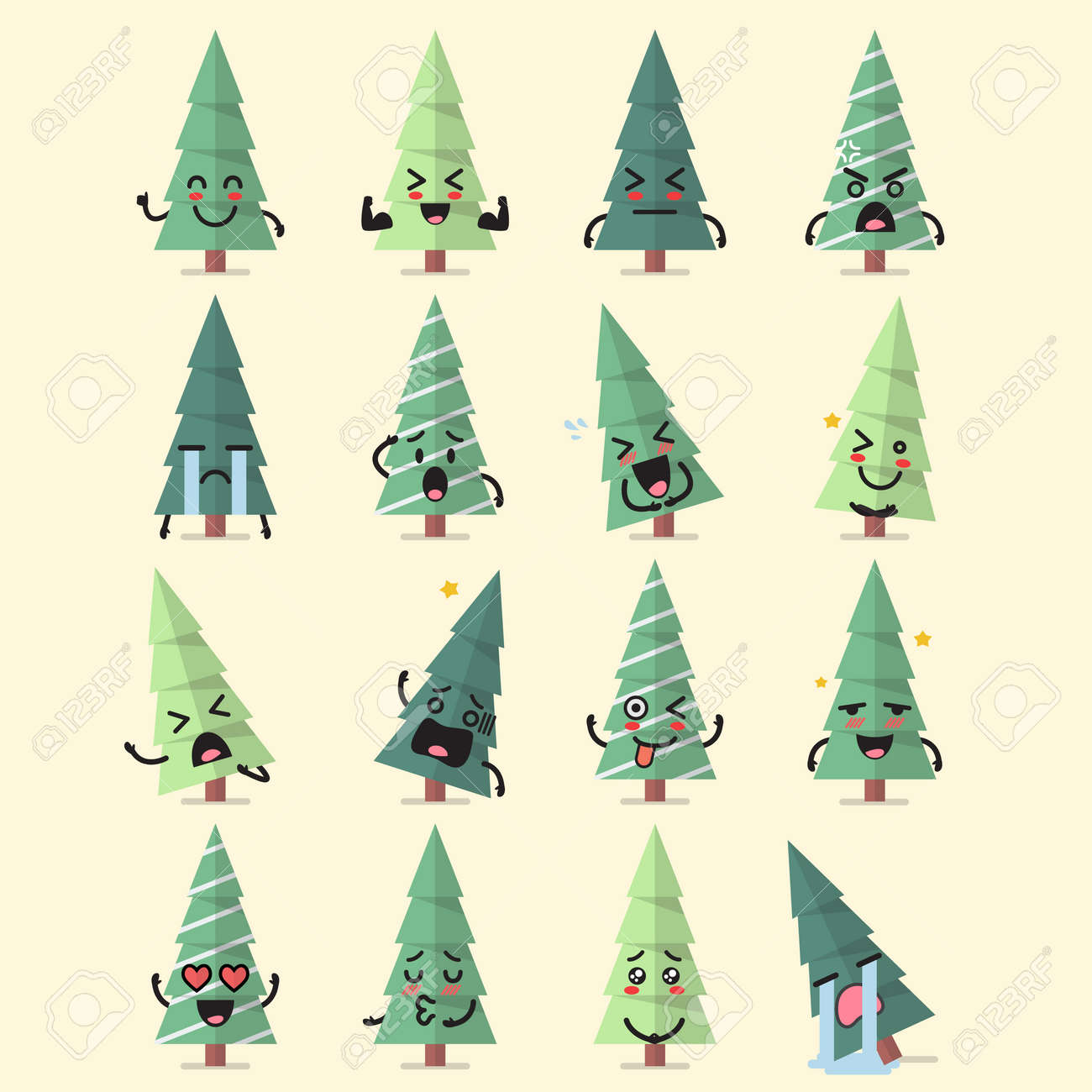 Christmas Tree Emoji.Christmas Tree Character Emoji Set Funny Cartoon Emoticons