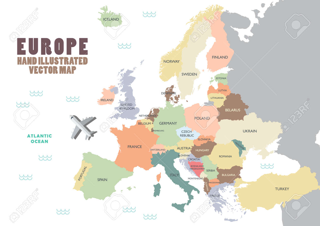 Picture of: Europe Map With Color And Name Illustration Royalty Free Cliparts Vectors And Stock Illustration Image 86057159