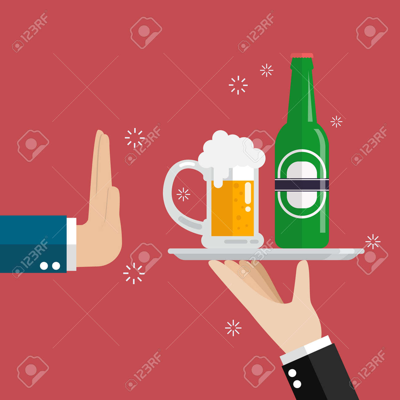 Hand gesture rejection a glass of beer, vector illustration. - 88319371