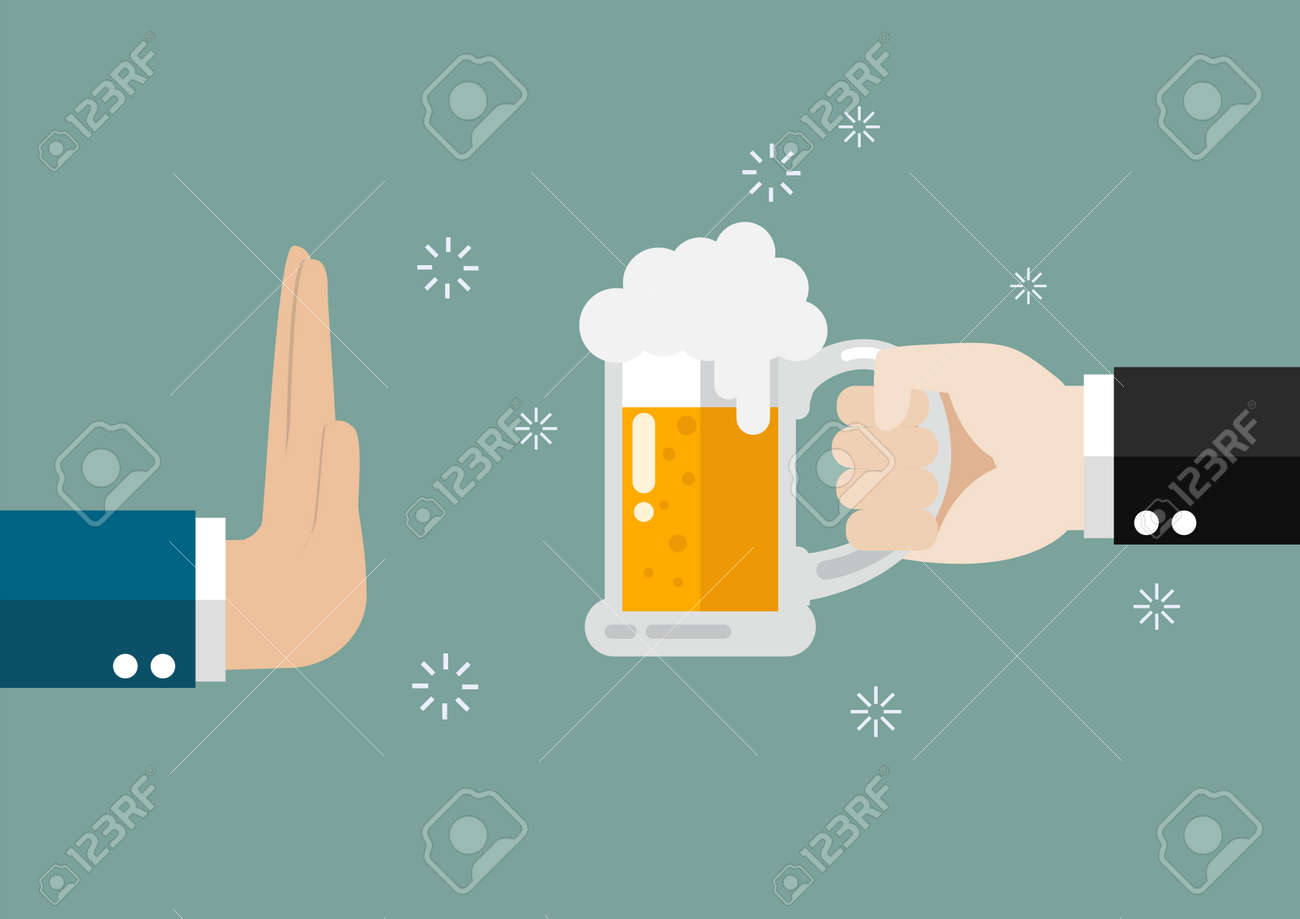 Hand gesture rejection a glass of beer. No alcohol - 88674961
