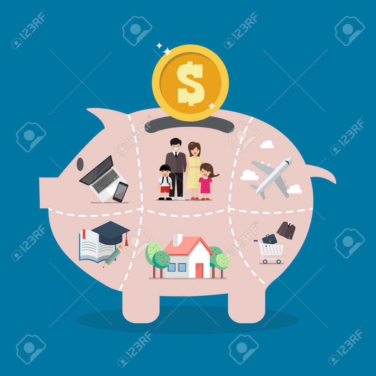 Piggy bank saving money portion for life. Vector illustration - 114960345