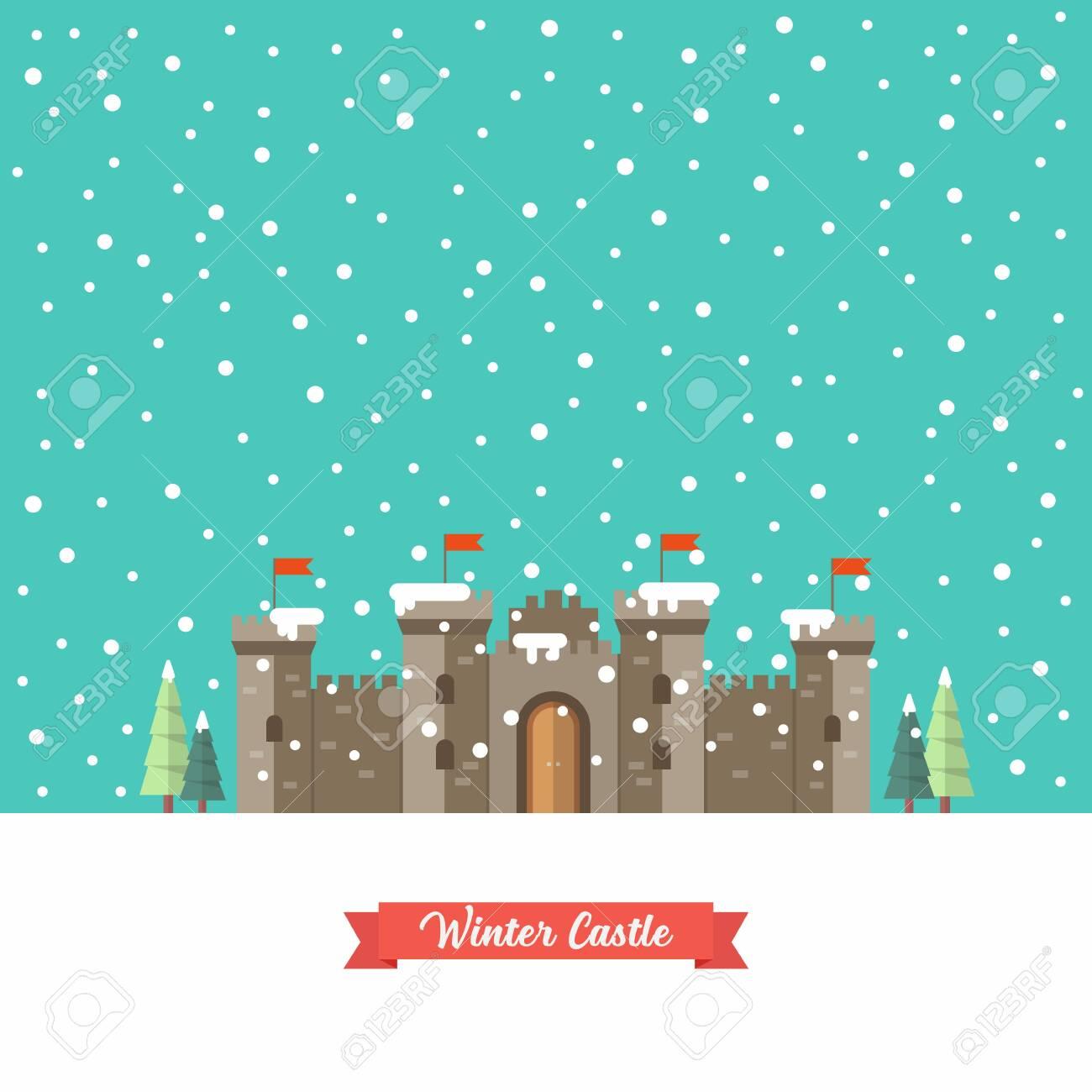 Castle in winter season. Vector illustration - 154448842