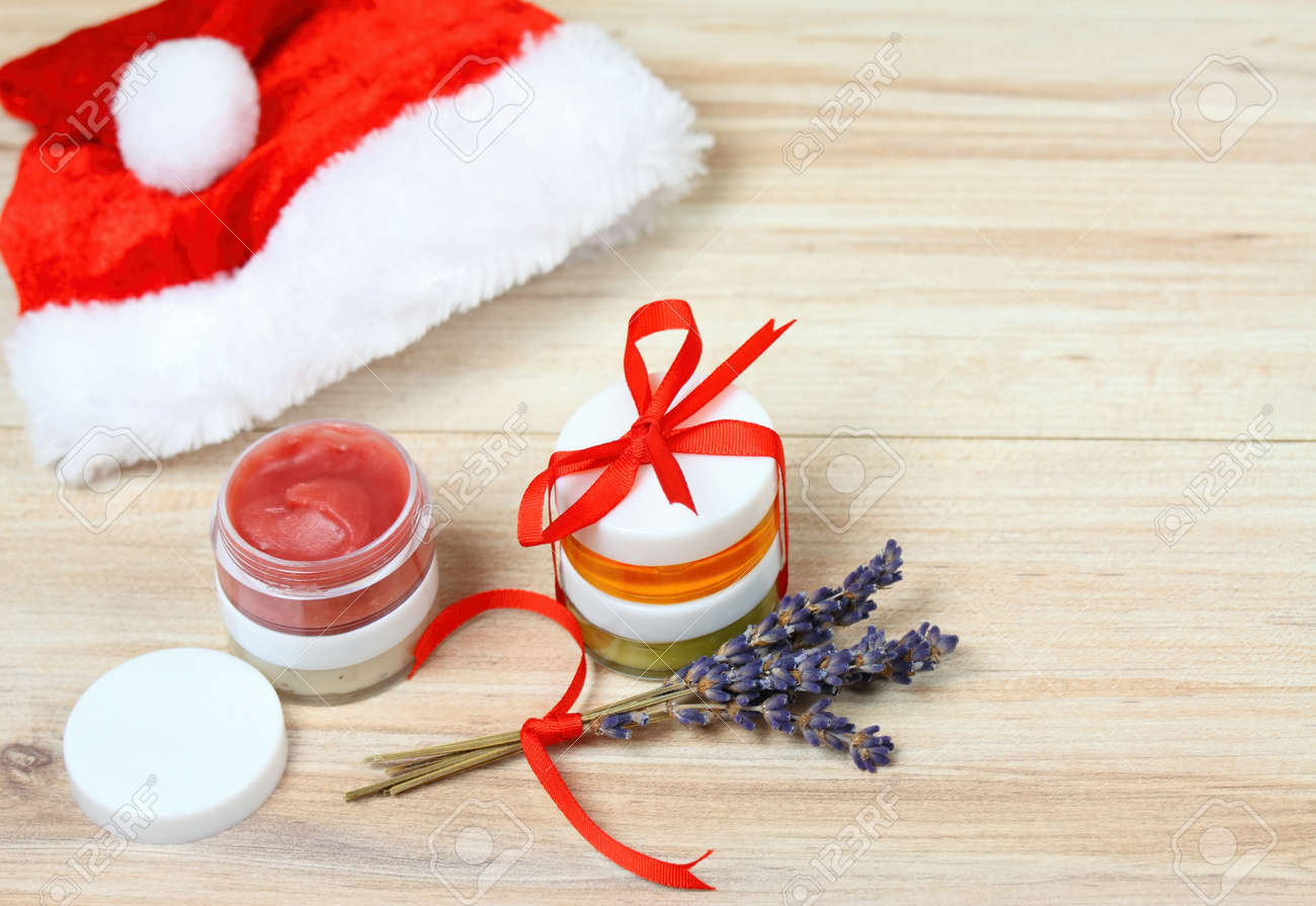 Small Christmas Gifts With Homemade Herbal Medicine And Copy.. Stock ...