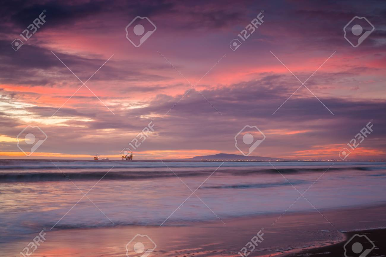 Huntington Beach To A Sunset Over Palos Verdes Stock Photo Picture And Royalty Free Image Image 25469460