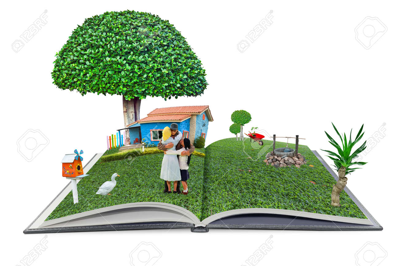 Open Pop Up Book Familyman And Home In The Garden 3d Style, Home Sweet Home