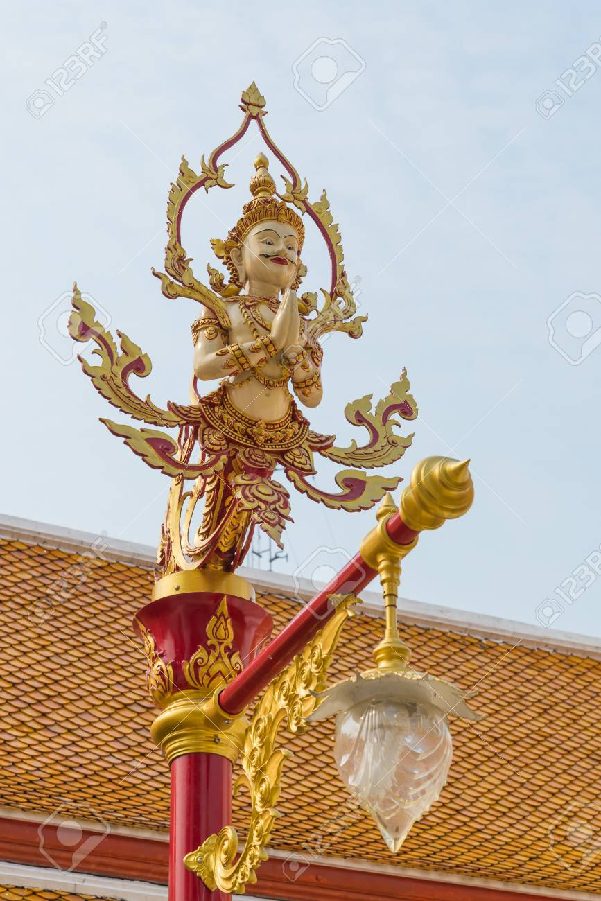 tradition thai style lamp in the temple of bangkok province. Stock Photo - 18615706