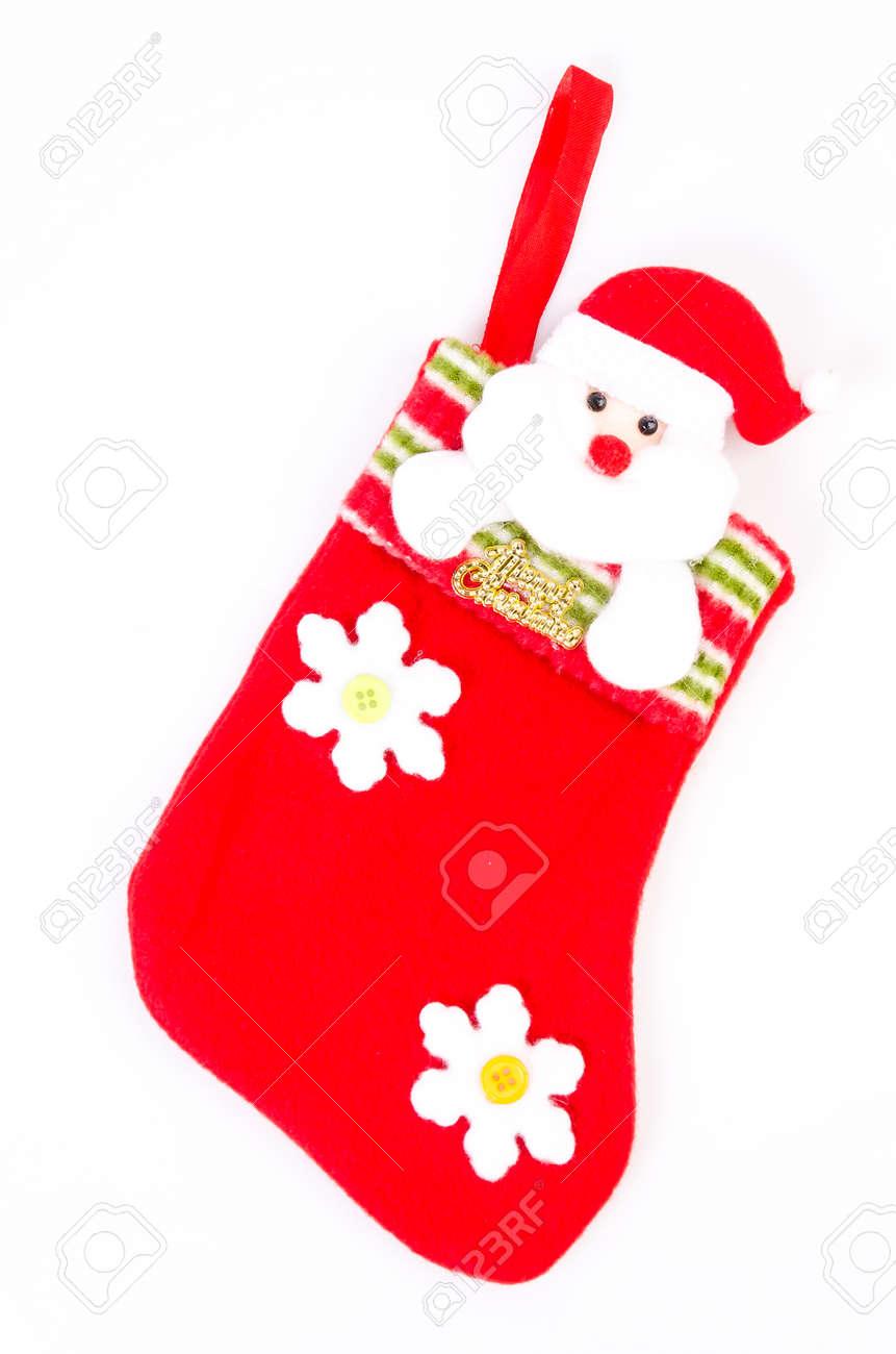 calcetines de navidad utilizando decorar foto de archivo