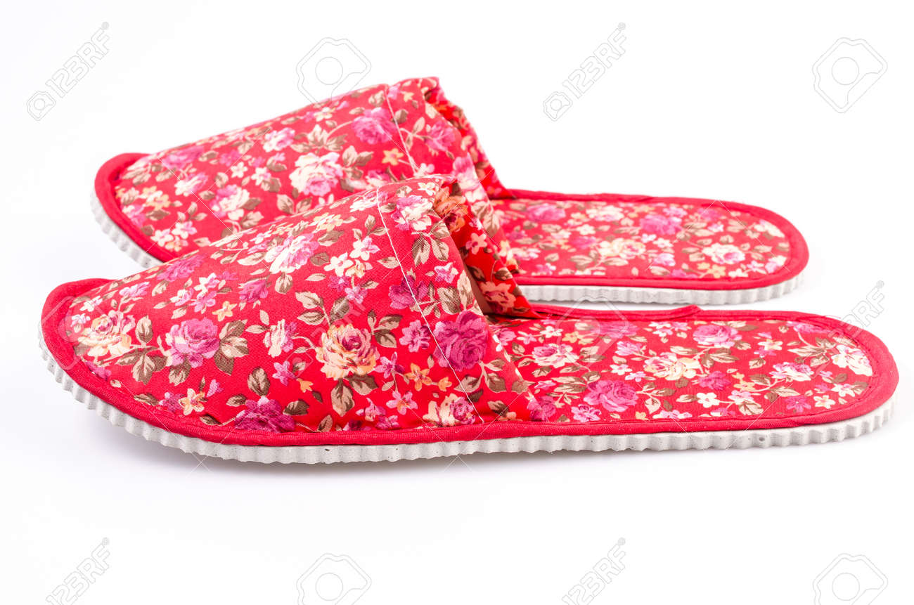 Red House Shoes , Slippers On Isolated White Background Stock ...