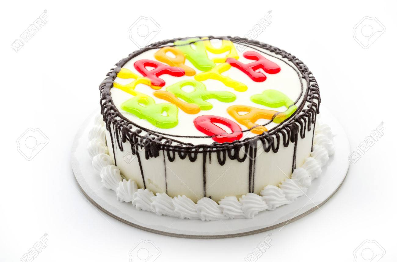 Happy Birthday Cake Isolated On White Stock Photo Picture And