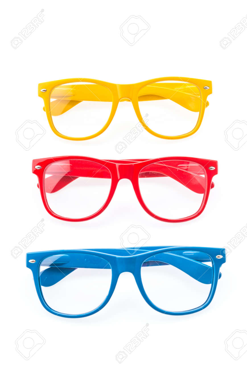 8a46c139d4f Colorful Eyeglasses isolated on white Фото со стока - 30902990