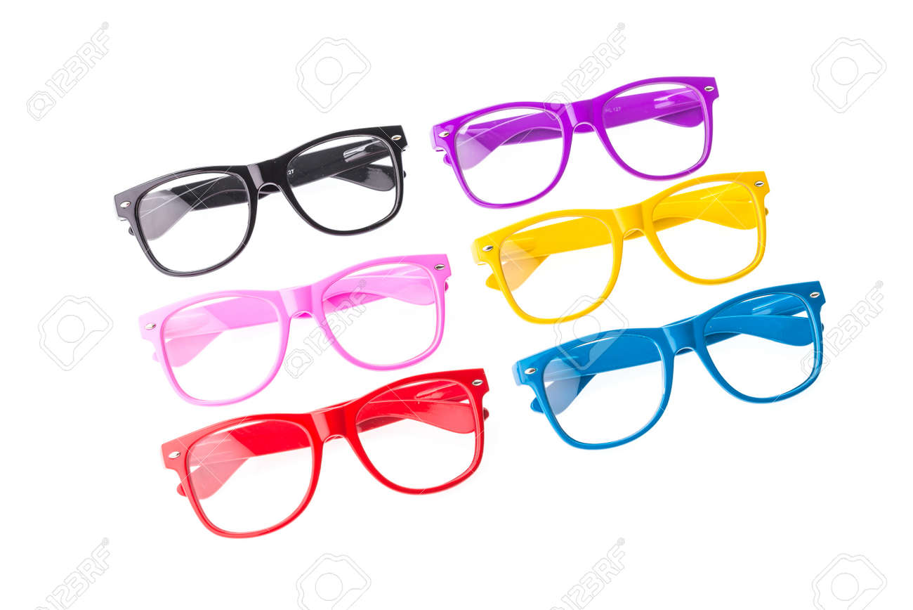 f3c145c0f27 Colorful Eyeglasses isolated on white Stock Photo - 30904684