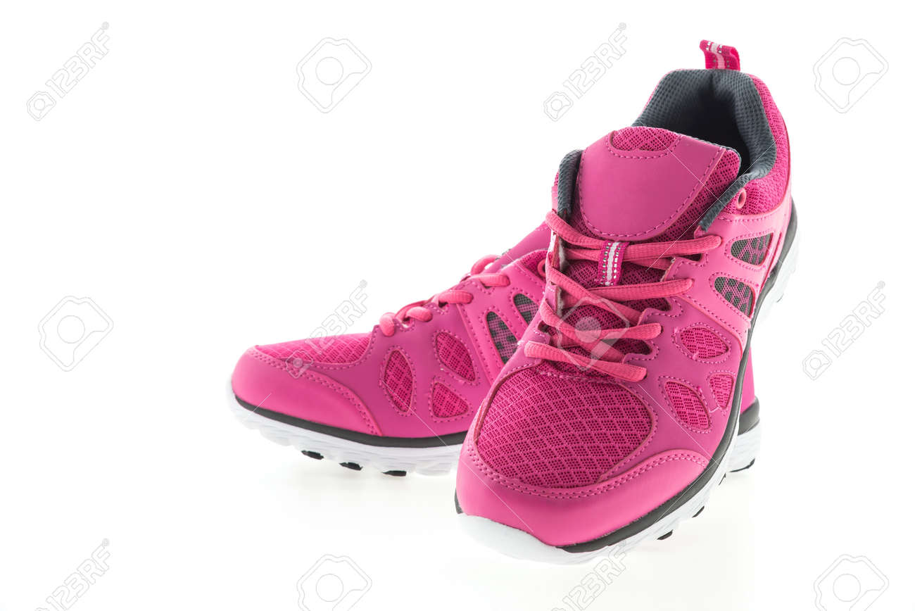 Pink Sport running shoes isolated on white background Standard-Bild - 37044909
