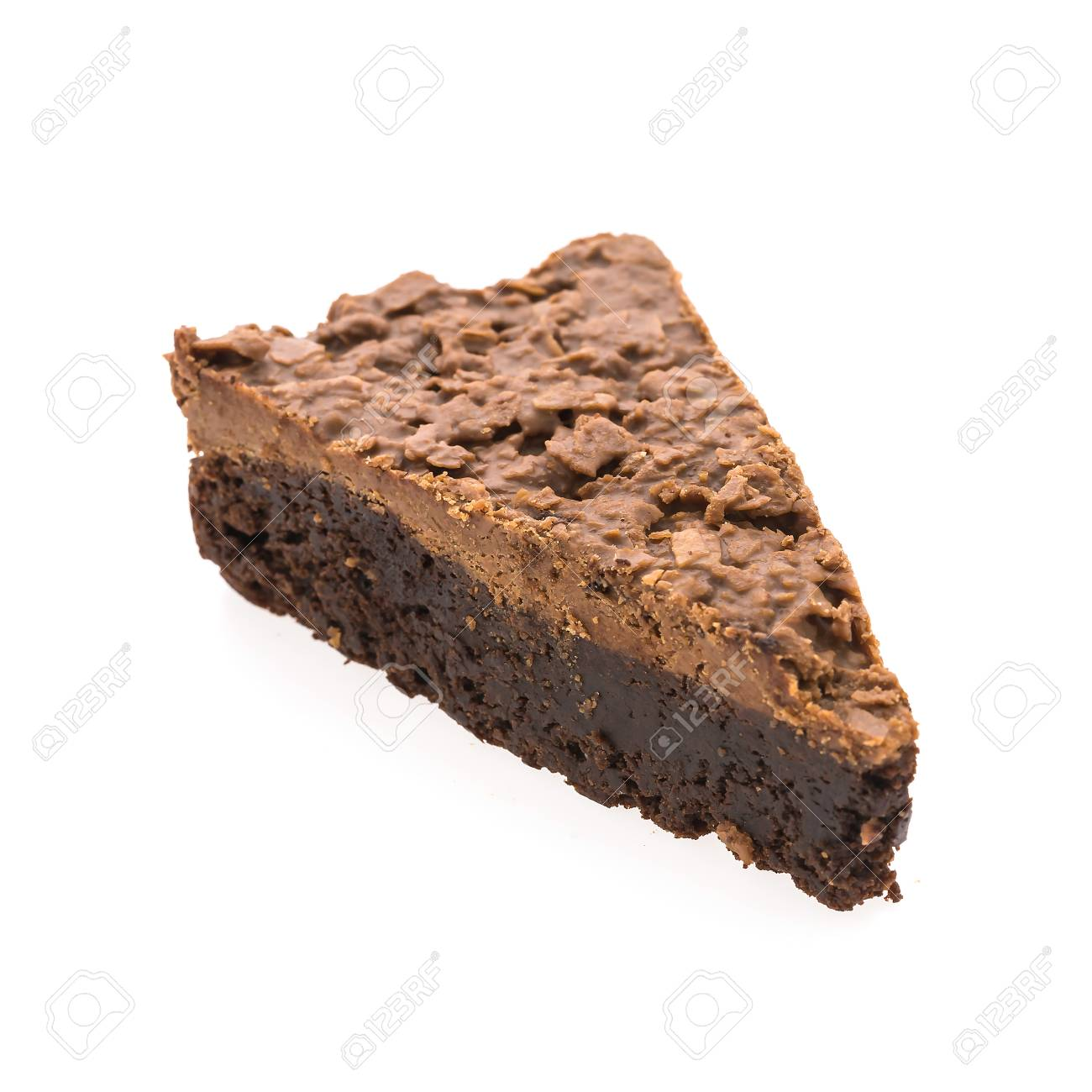 Schokolade Brownie Kuchen Isoliert Auf Weissem Hintergrund