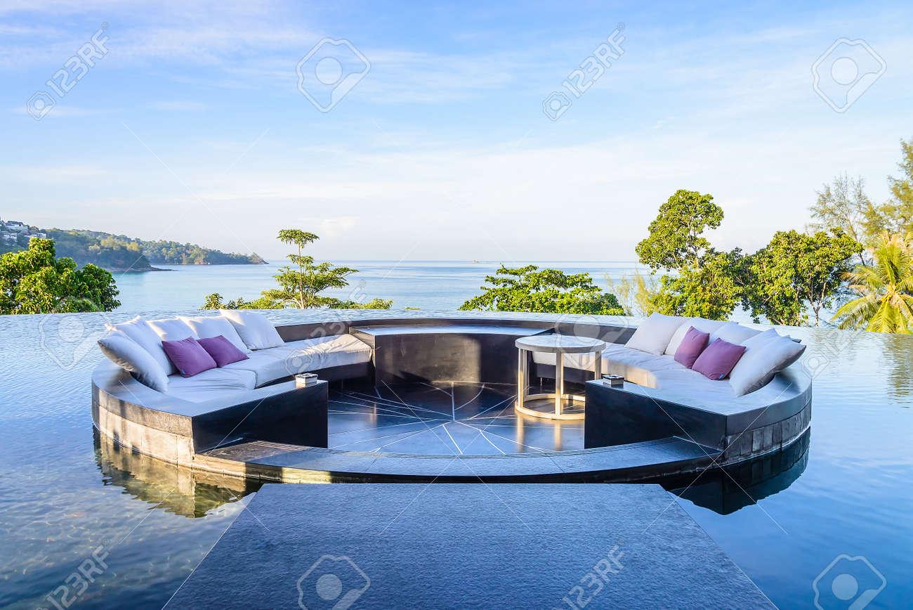 Outdoor deck with pillow sofa Standard-Bild - 40464226