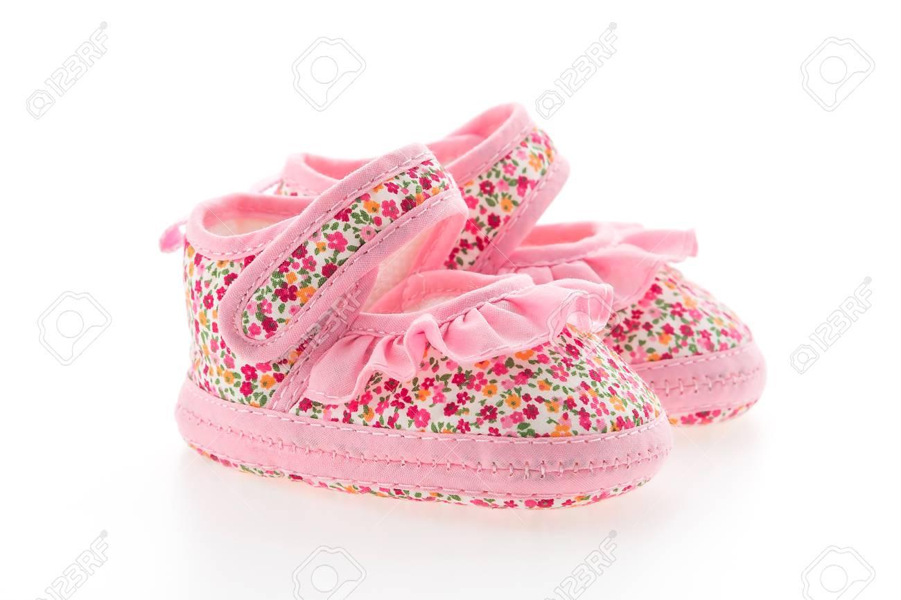 32f48c24b353f Chaussures Bébé Fille De Fleurs Isolé Sur Fond Blanc Banque D Images ...
