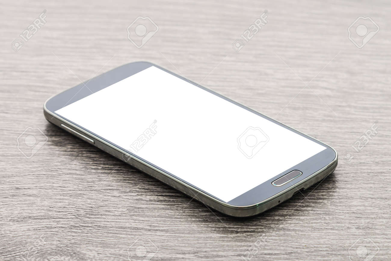 Moblie smart phone on wood Standard-Bild - 42706782