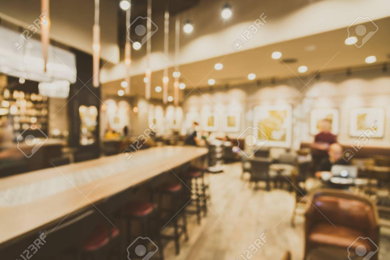 Abstract Blur Coffee Shop Cafe Interior Background Vintage Stock