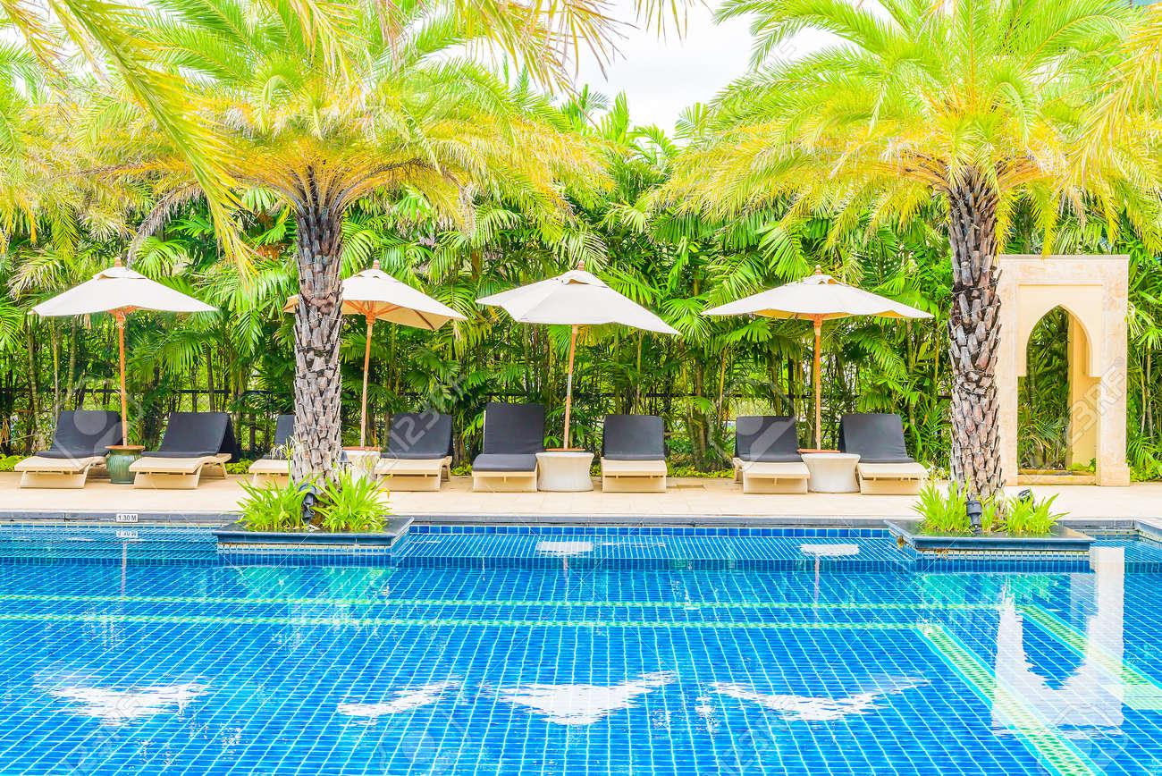 Luxury Hotel Swimming Pool Resort Vacation Background Stock Photo