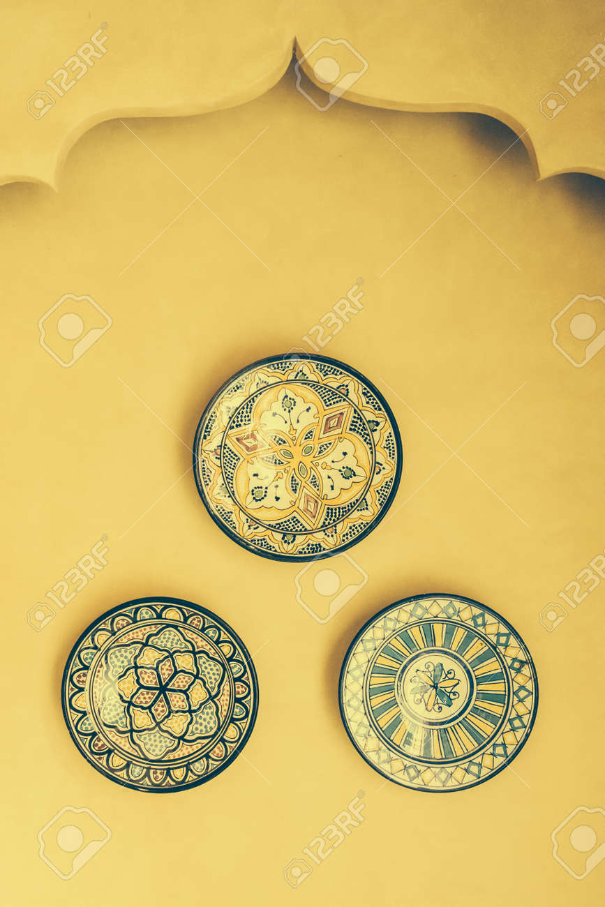 Dish And Plate Morocco Style On Wall Decoration Interior - Vintage ...