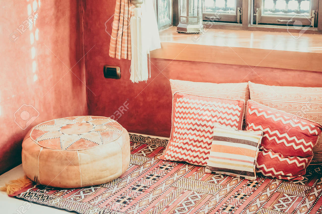 Pillow On Sofa Decoration Interior With Morocco Style   Vintage Filter  Stock Photo   51432425