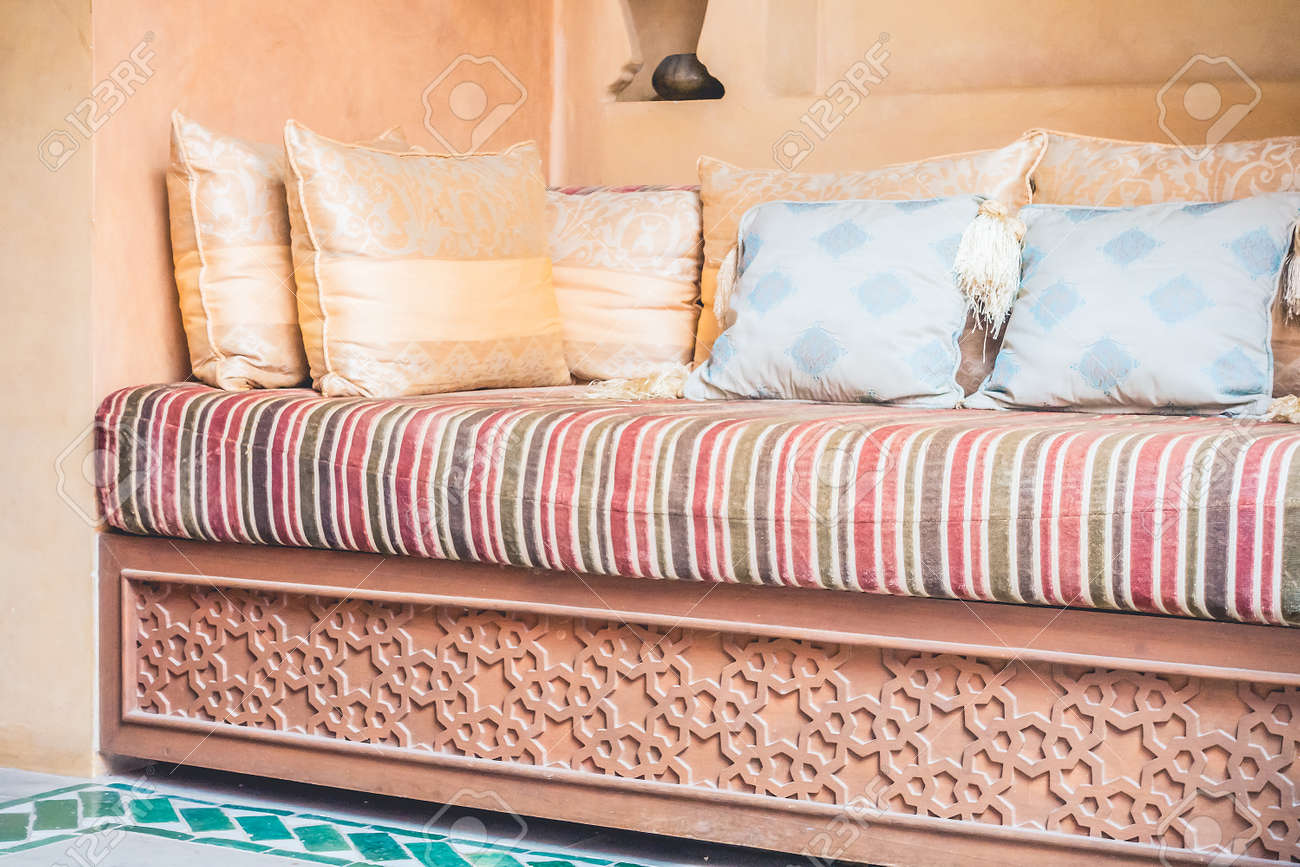 Pillow On Sofa Decoration Interior With Morocco Style   Vintage Filter  Stock Photo   51835043