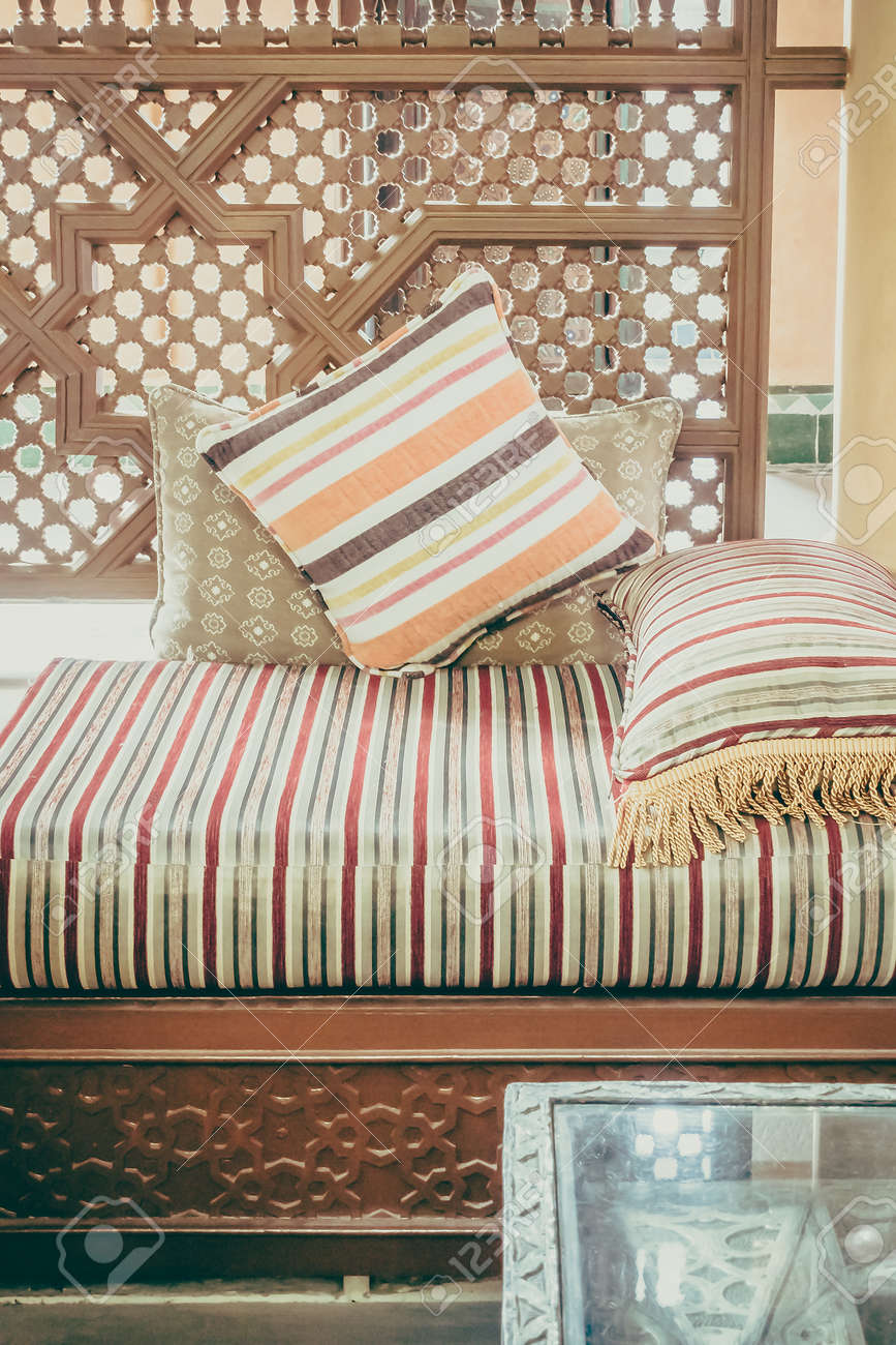 Pillow On Sofa Decoration Interior With Morocco Style - Vintage ...
