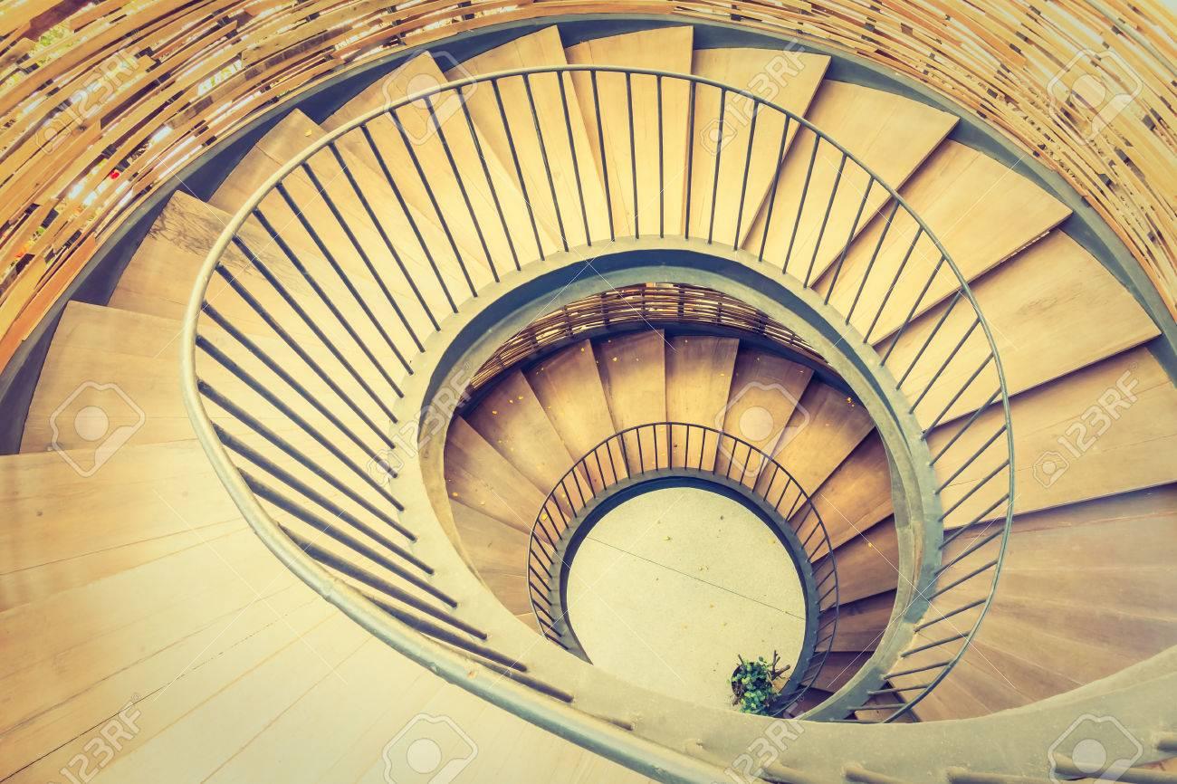 Spiral Circle Staircase Decoration Interior   Vintage Filter Stock Photo    52629207