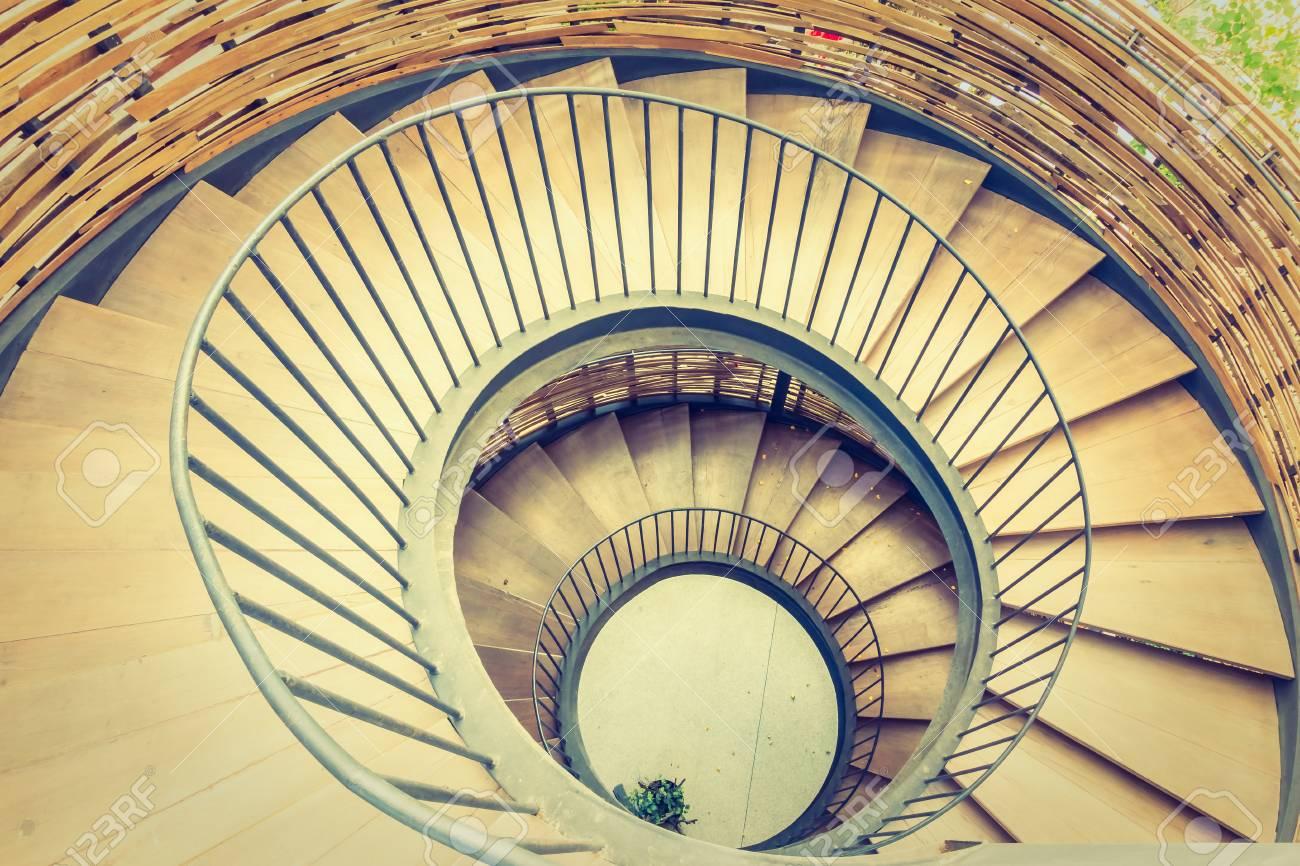 Spiral Circle Staircase Decoration Interior   Vintage Filter Stock Photo    52738705