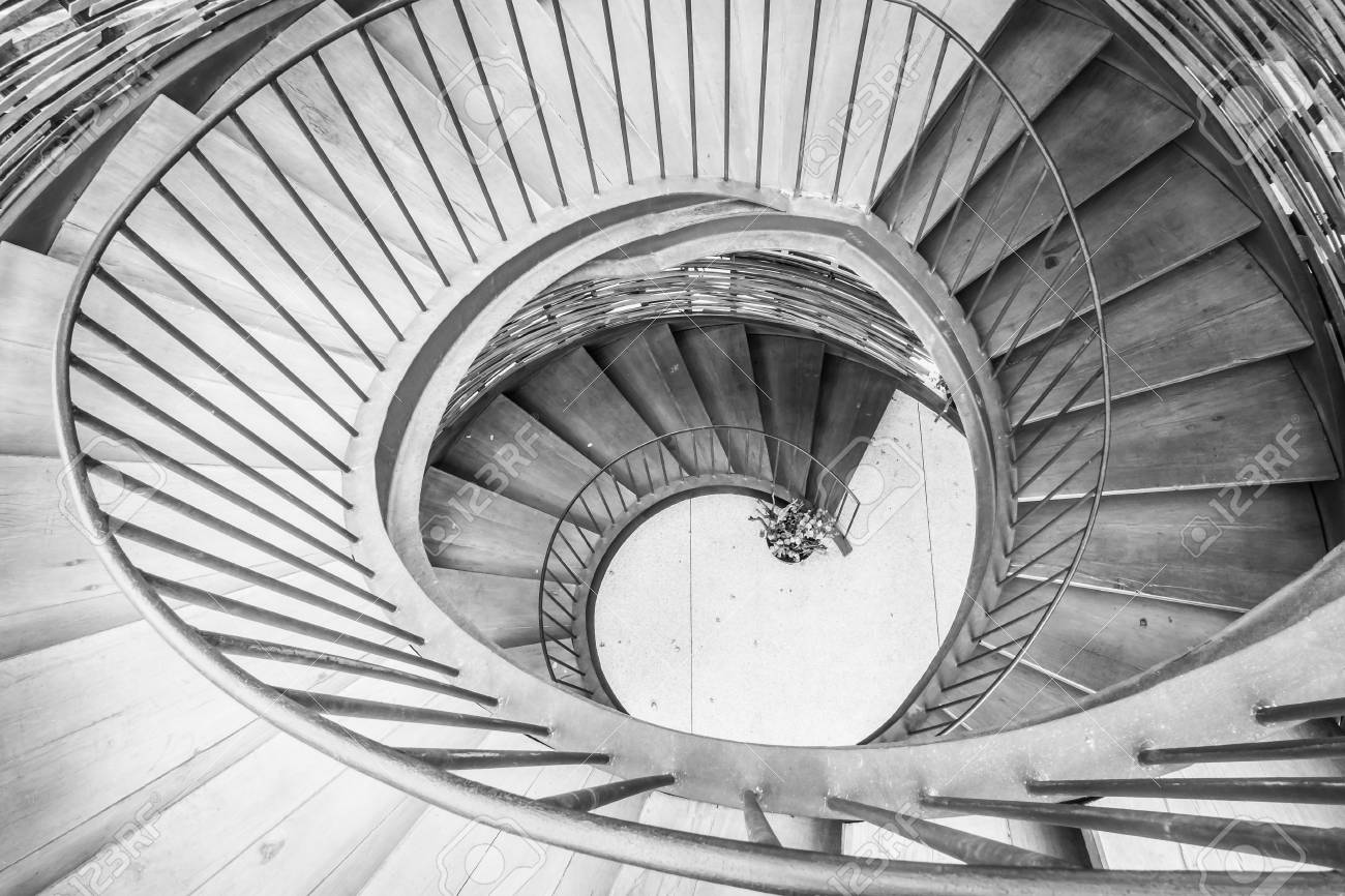 Spiral Circle Staircase Decoration Interior   Black And White Filter  Processing Stock Photo   53198208
