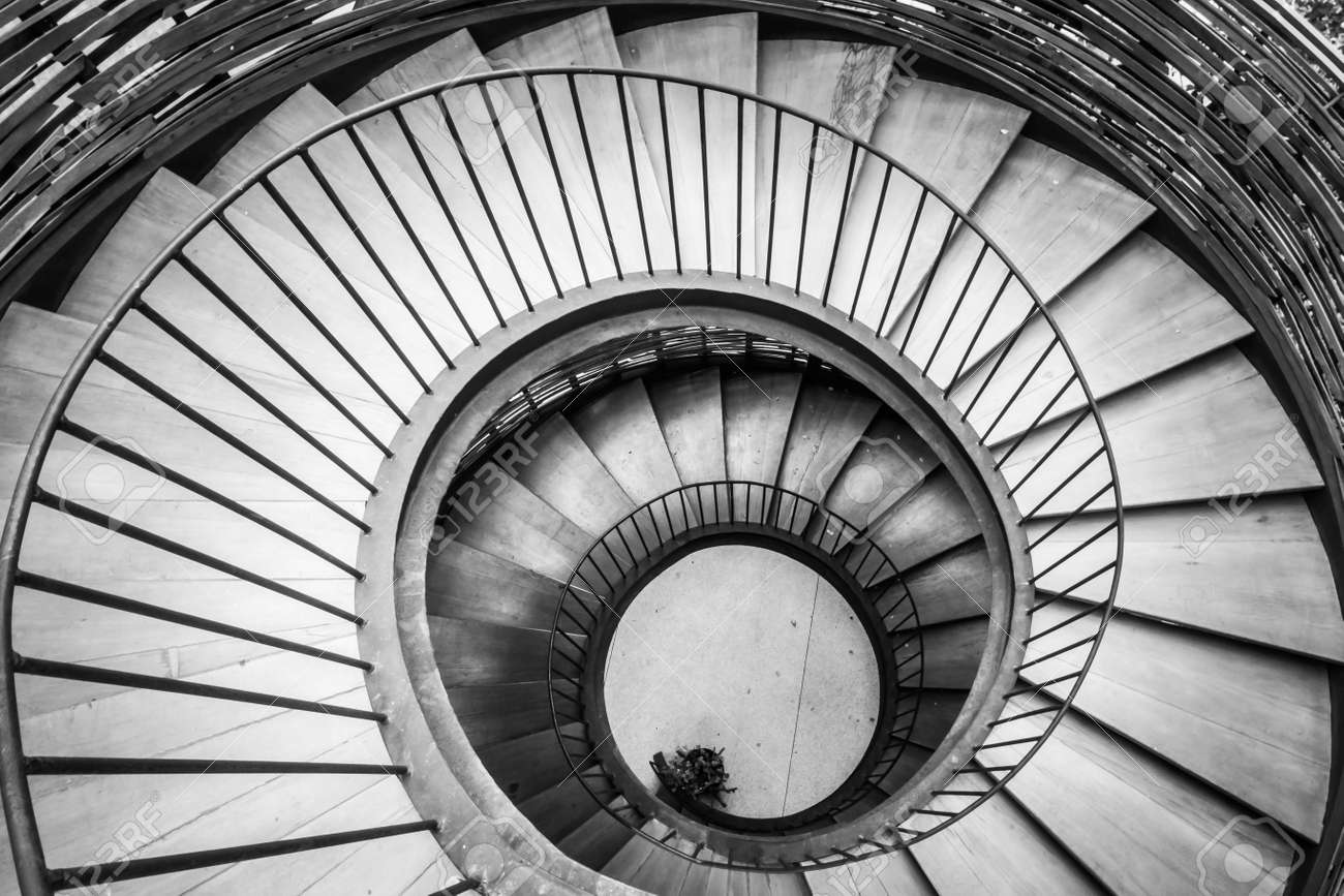 Spiral Circle Staircase Decoration Interior   Black And White Filter  Processing Stock Photo   55143762
