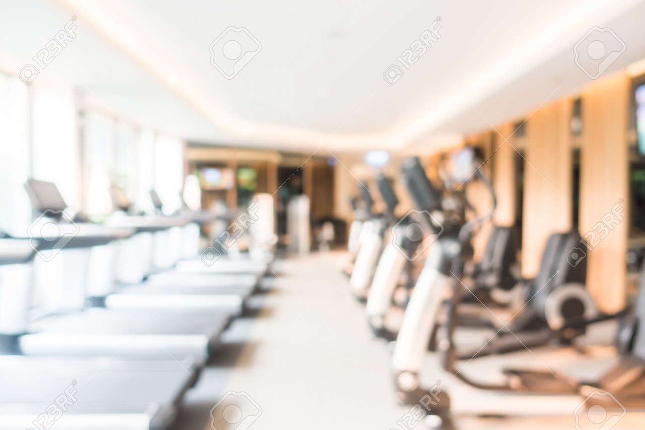 Abstract blur fitness and gym room interior for background stock