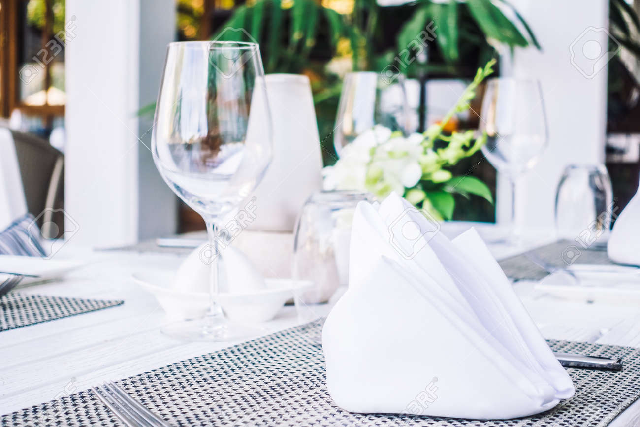 Selective Focus Point On Table Setting With Wine Glass Fork - Wine glass table setting