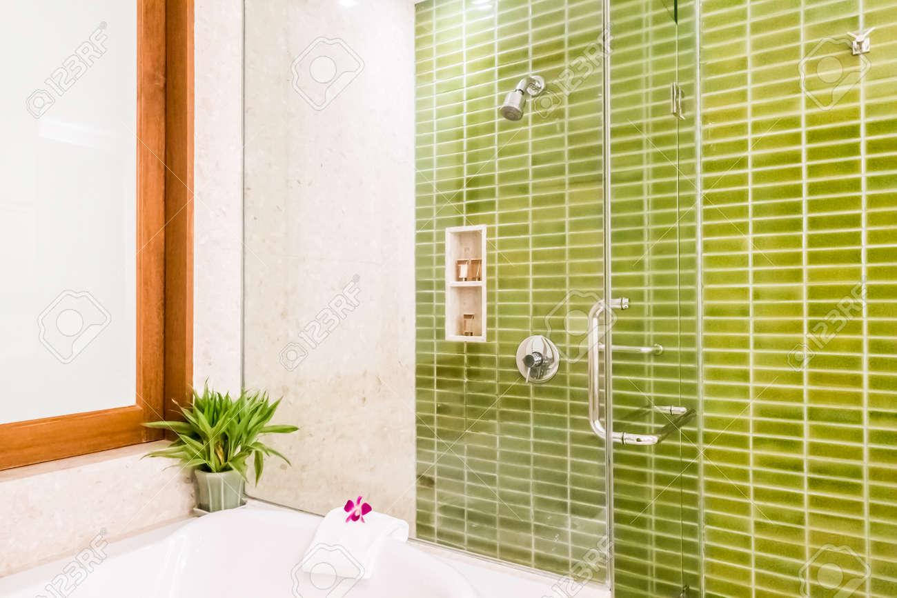 Shower Box Glass Decoration In Bathroom Interior - Vintage Light ...