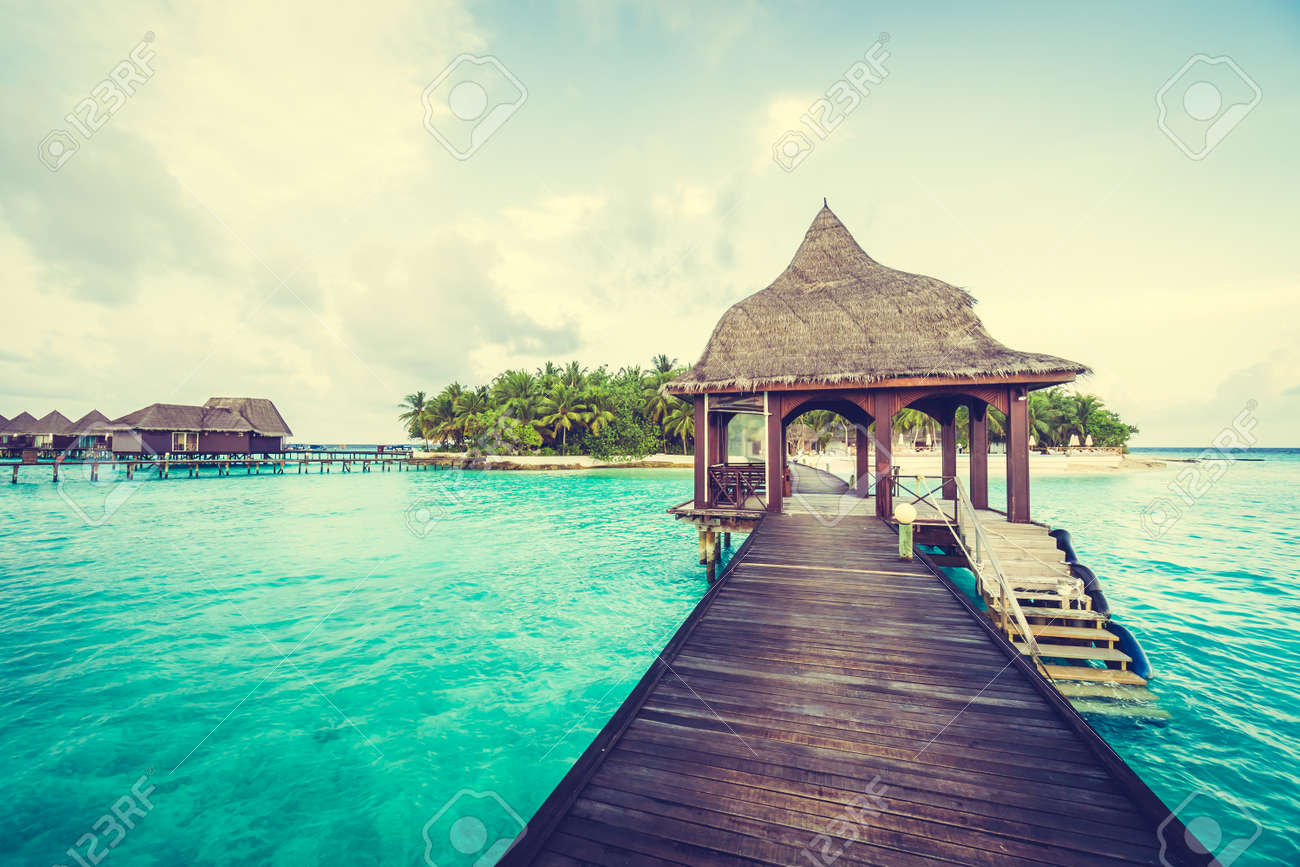 Beautiful Tropical Maldives Resort Hotel And Island With Beach