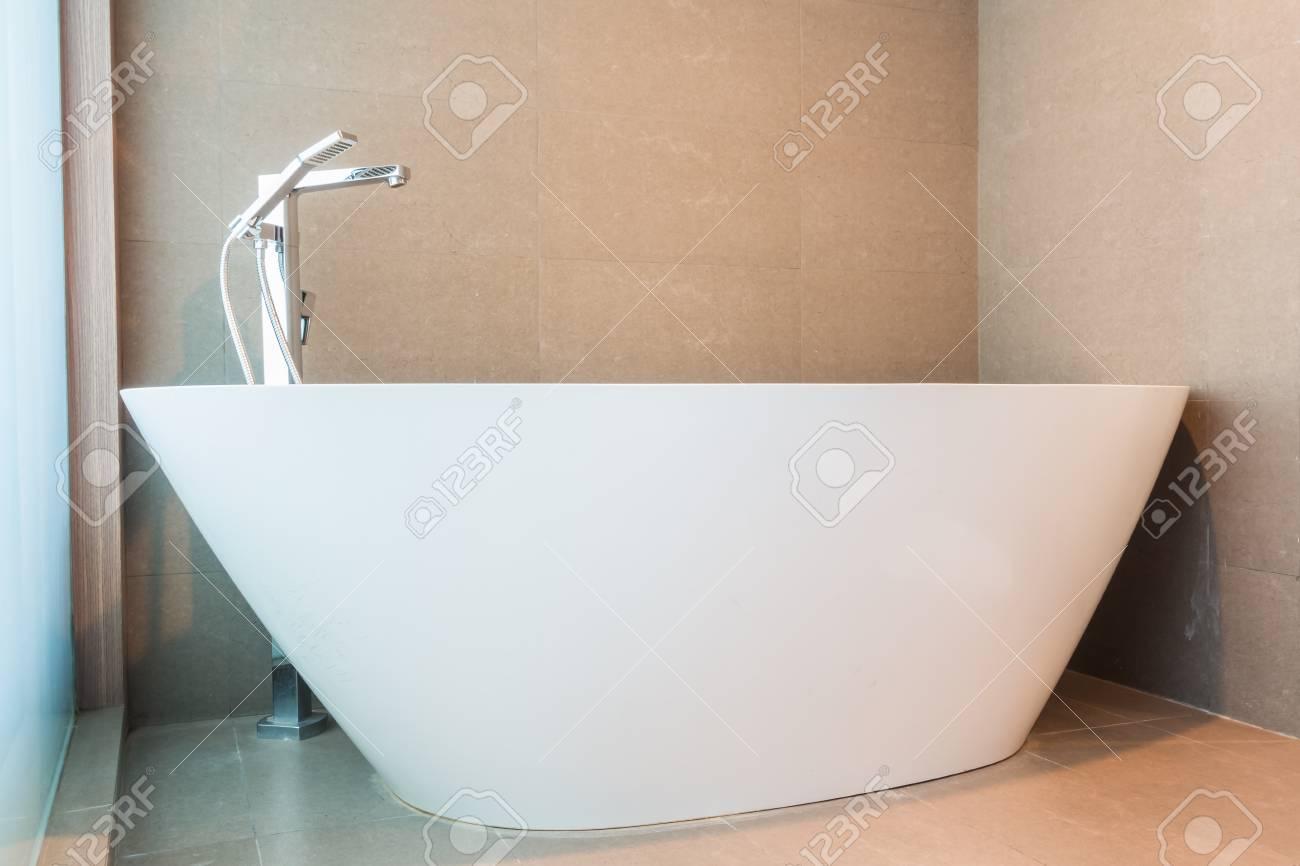 White Luxury Bathtub Decoration In Bathroom Interior Stock Photo ...