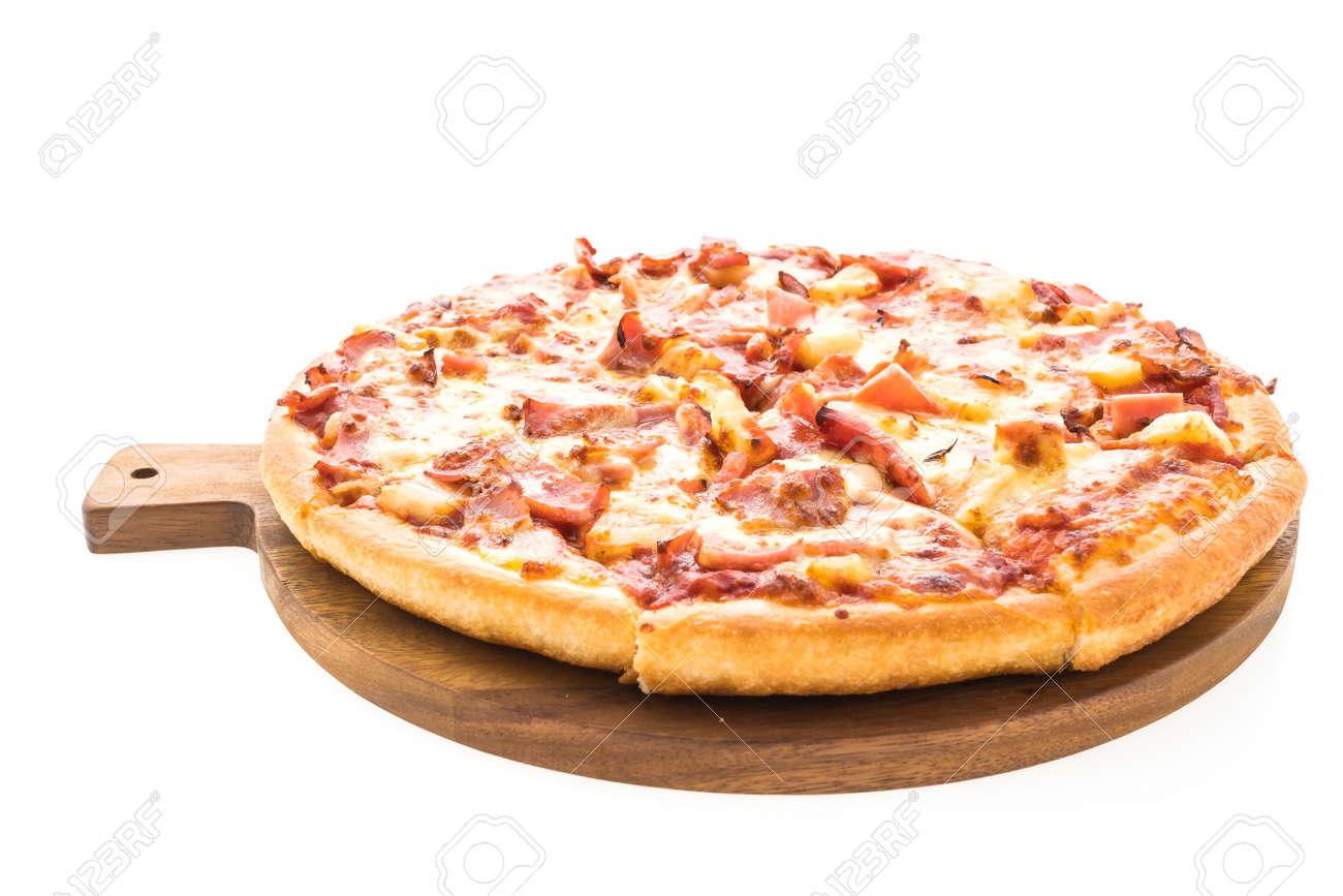 Hawaiian pizza on wooden plate isolated on white background Stock Photo - 65586308  sc 1 st  123RF.com & Hawaiian Pizza On Wooden Plate Isolated On White Background Stock ...
