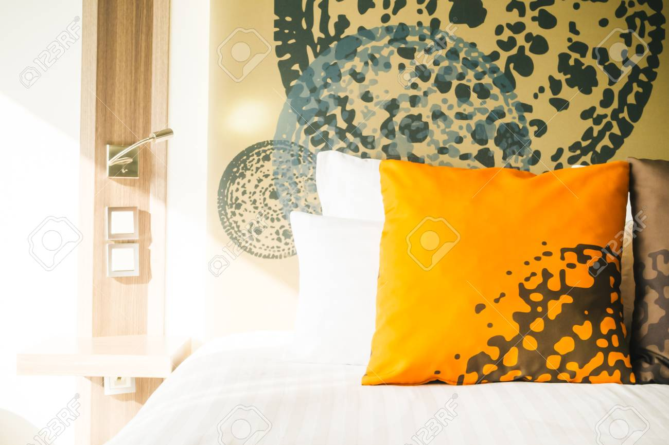 Beautiful Pillow On Bed Decoration In Hotel Bedroom Interior Stock