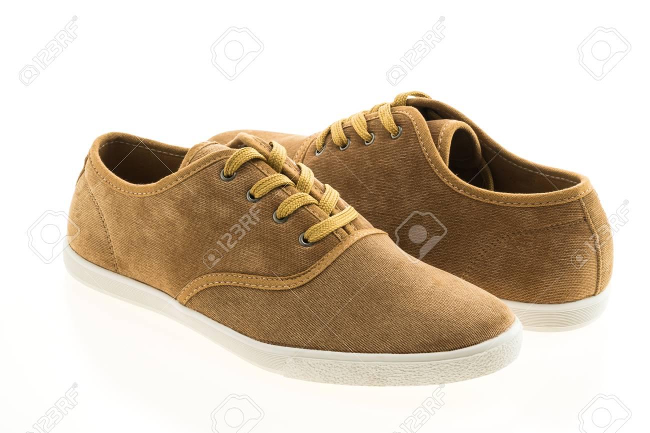 Les Belles Isolés Hommes Blanc En Cuir Chaussures Pour Brun Sur Fond kZOXiuP