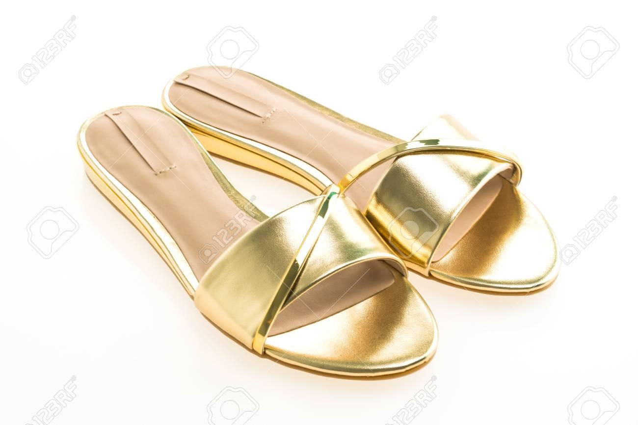 D'or 0wm8nnv Sur Blanc Isolé Fond Pour Belles Chaussures Sandale Femme 4R3AjL5q