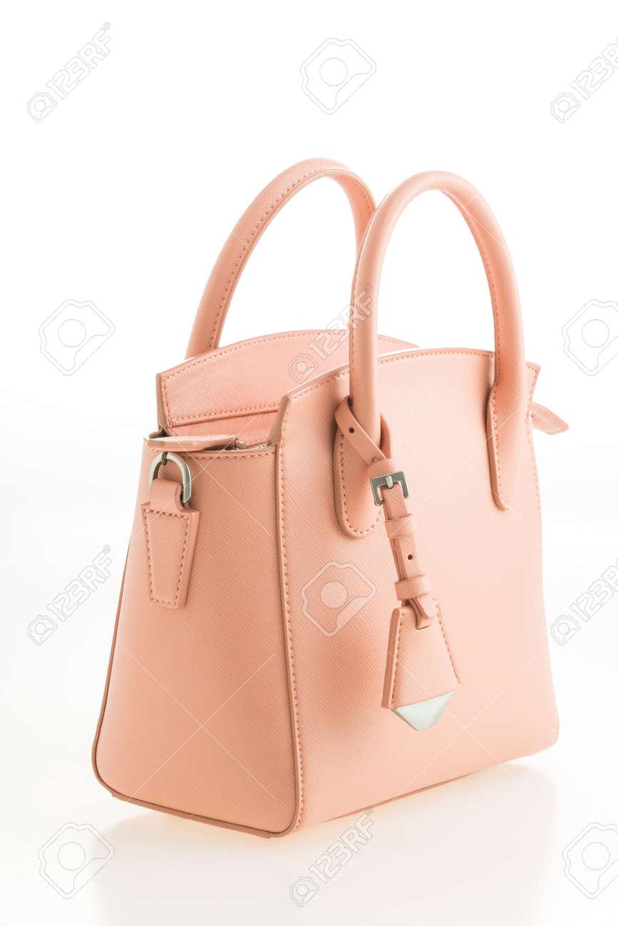 753d1a8ce Elegancia hermosa y de lujo de moda mujer de cuero rosa bolso aislado en el  fondo