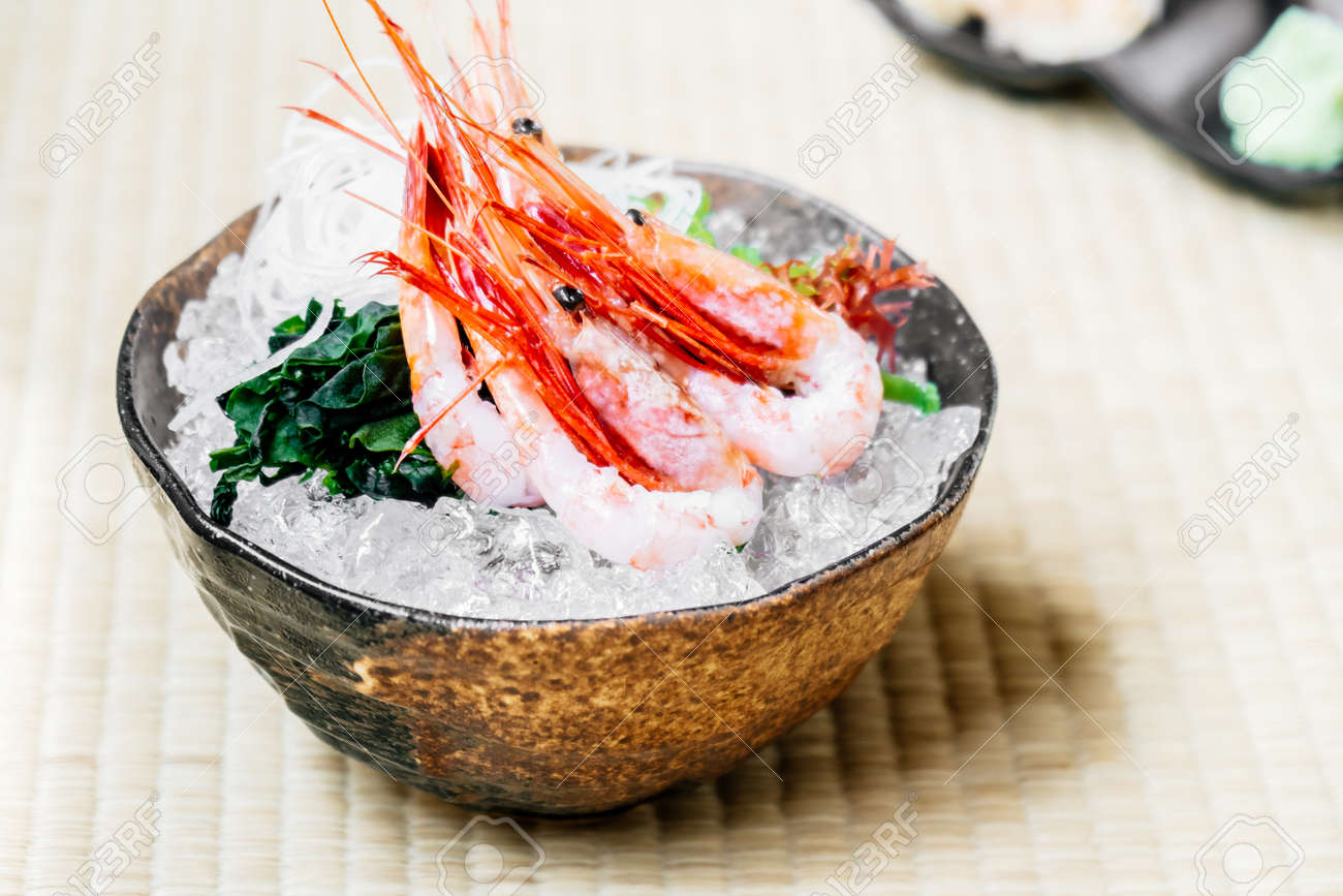 Raw And Fresh Shrimp Or Prawn Sashimi Japanese Food Style Stock