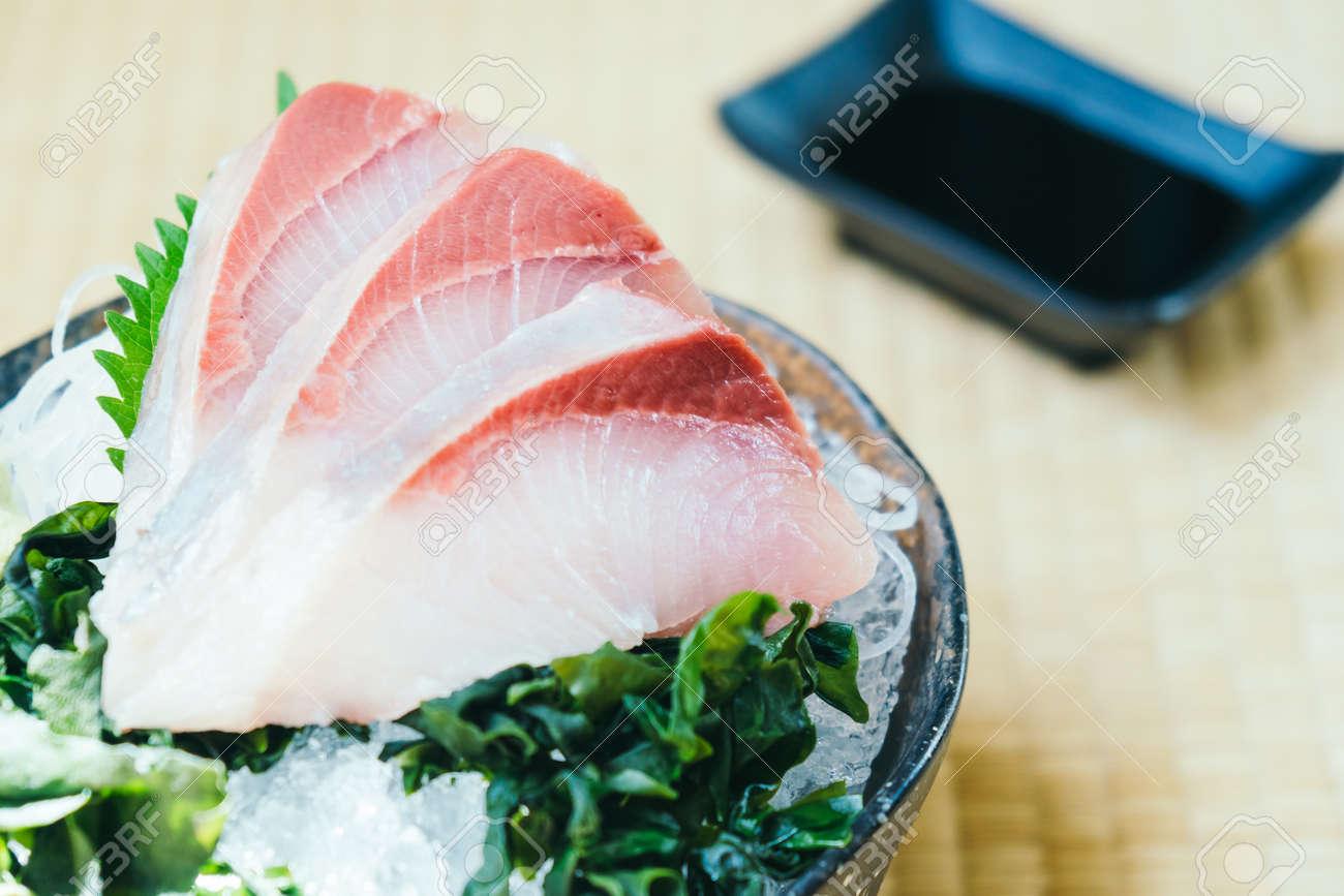 Raw With Fresh Hamachi Fish Meat Sashimi Japanese Food Style Stock