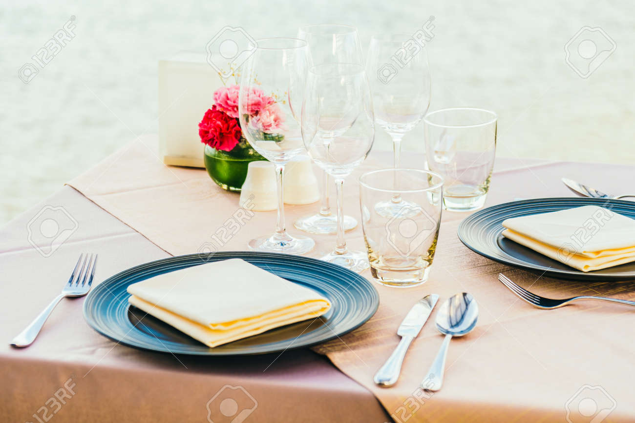 Romantic Dining Table Setting With Wine Glass And Other With Stock - Wine glass table setting