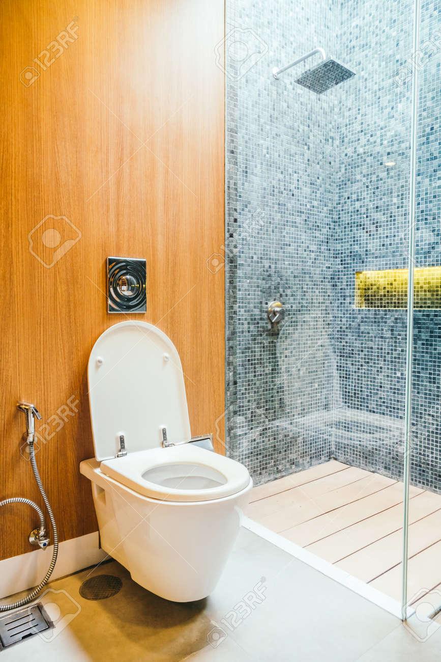 White Toilet Bowl Seat Decoration In Bathroom Interior Stock Photo ...