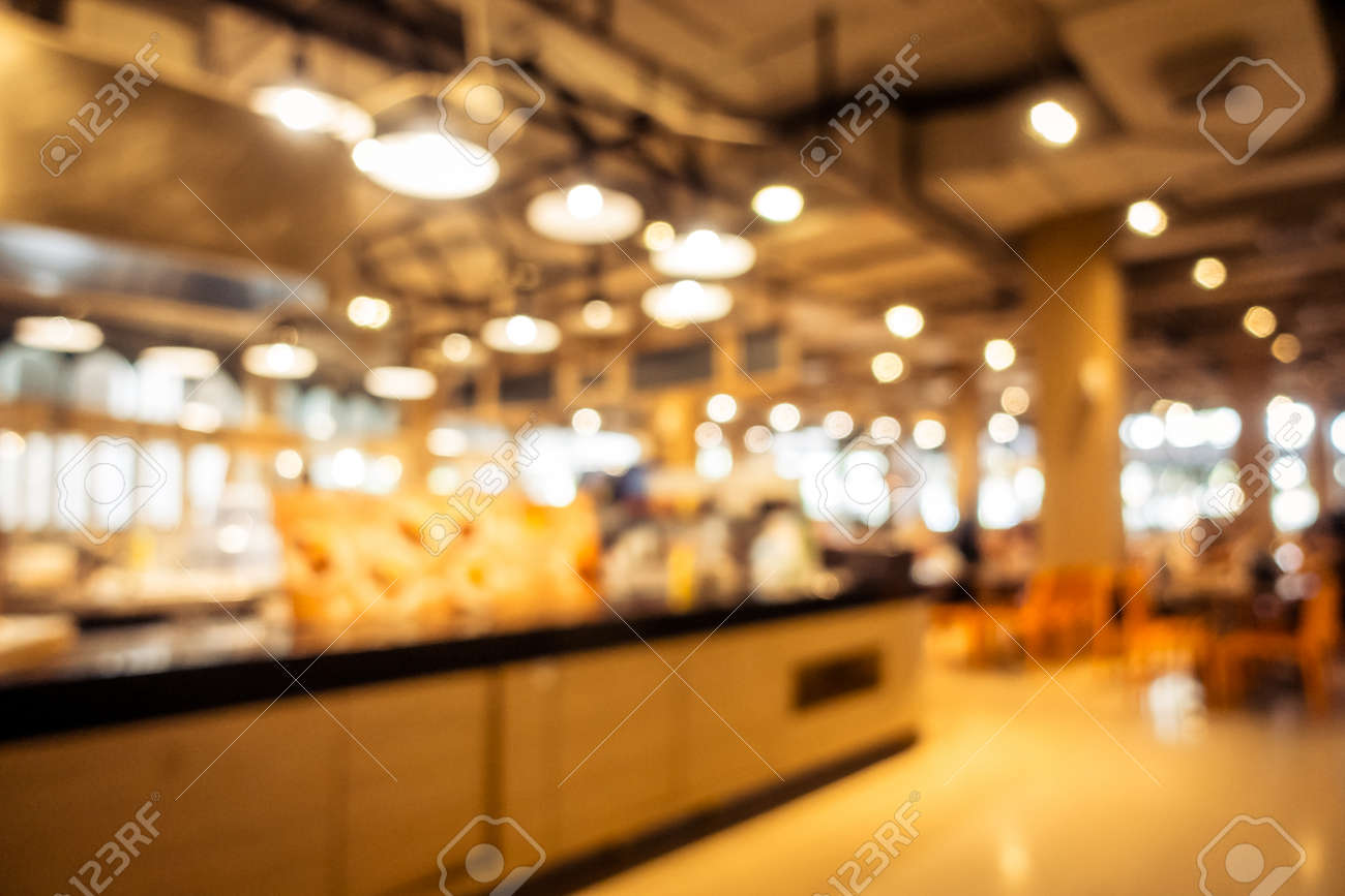 Abstract blur and defocused restaurant and coffee shop interior for background - Vintage Filter - 125712607