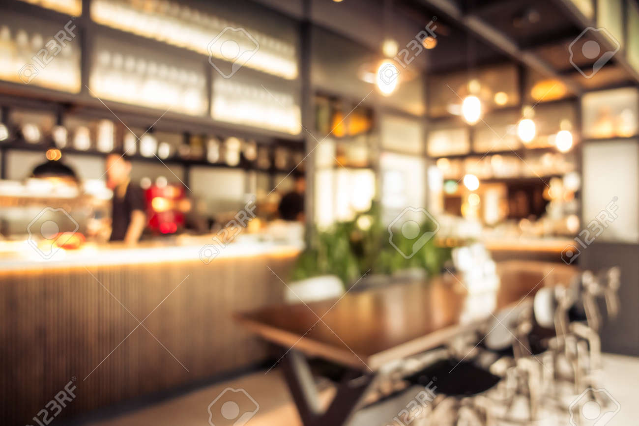 Abstract blur coffee shop cafe interior for background - 120331401