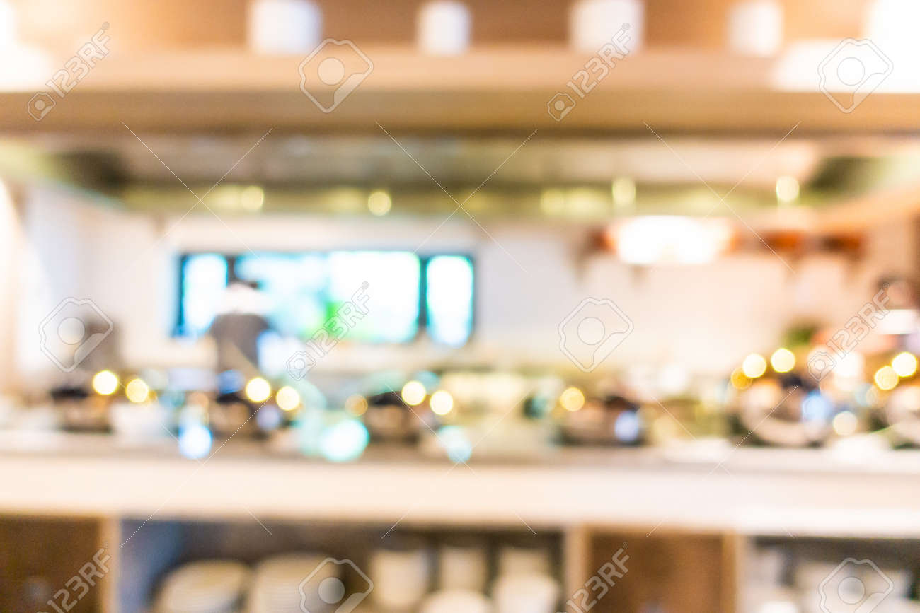 Abstract blur and defocused coffee shop cafe and buffet restaurant interior for background - 120254850