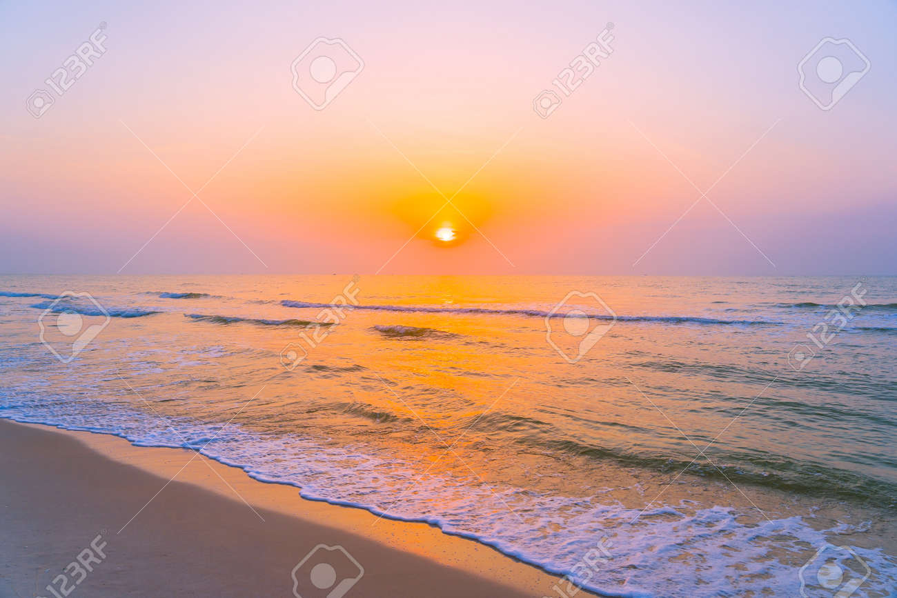 Beautiful landscape outdoor sea ocean and beach at sunrise or sunset time for leisure travel and vacation - 125861101