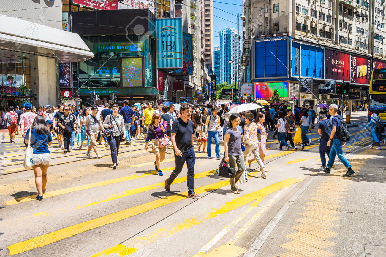 Hong kong, China - 15 Sep, 2018 : Beautiful architecture and building with a lot of people and traffic in hong kong around causeway bay area - 131497814