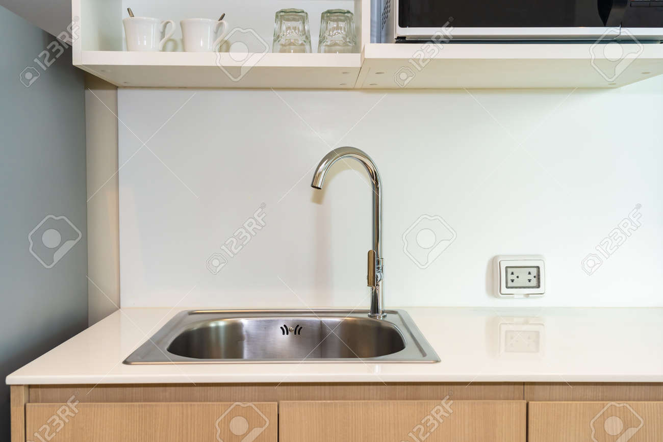 Kitchen Corner With Faucet Water And Sink Decoration Interior Stock Photo Picture And Royalty Free Image Image 136145094